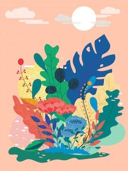 Ilustración vectorial de un hermoso flores florales de primavera con espacio de copia