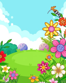 Ilustración vectorial de un hermoso parque con flores