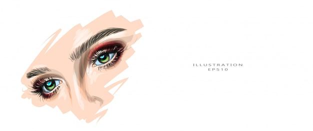 Ilustración vectorial hermosos ojos femeninos con maquillaje.