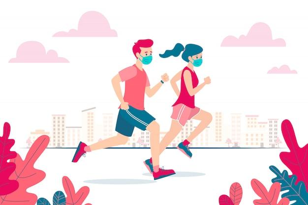 Ilustración vectorial de un hombre y una mujer corriendo y usando una máscara facial debido al coronavirus y la nueva normalidad