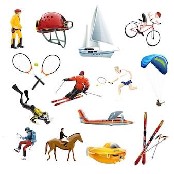 La ilustración vectorial de iconos de deporte extremo