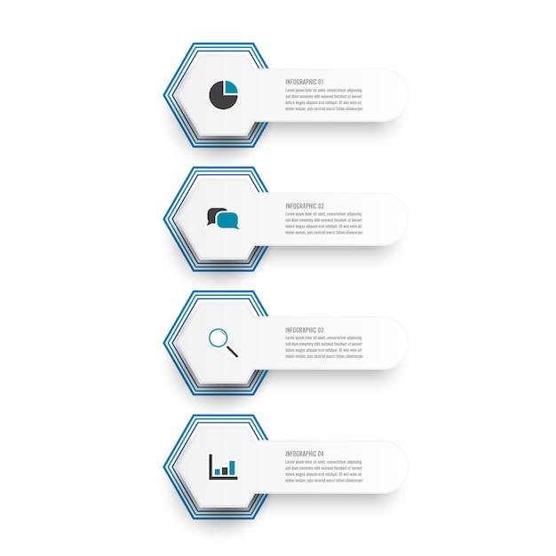 Ilustración vectorial infografía 4 opciones. modelo
