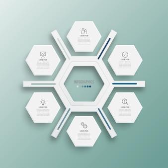 Ilustración vectorial infografía 6 opciones. plantilla para folleto, negocios, diseño web.
