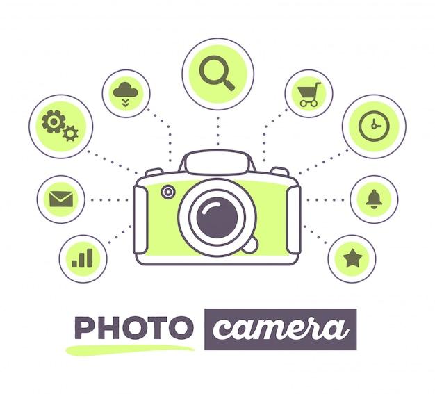 Ilustración vectorial infografía creativa de cámara de fotos con iconos y texto sobre fondo blanco.