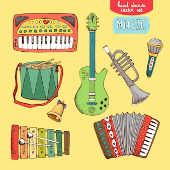 Ilustración vectorial instrumento musical dibujado a mano: guitarra trompeta acordeón tambor sintetizador