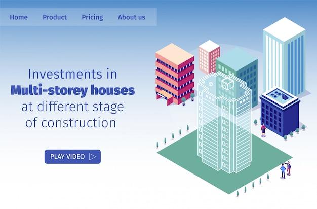 Ilustración vectorial inversiones en casas de varios pisos en diferentes etapas de construcción