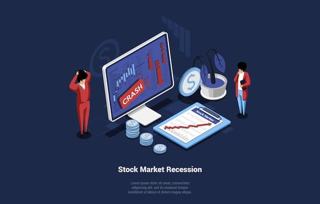 Ilustración vectorial isométrica de la recesión en la economía y la bolsa. concepto de crisis económica sobre fondo oscuro. composición 3d en estilo de dibujos animados de empresarios sorprendidos mirando la pantalla del ordenador.