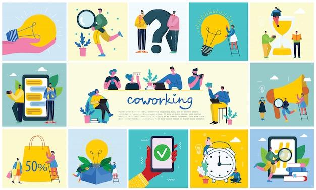 Ilustración vectorial jóvenes adultos grupo personas reunión, trabajando y hablando co centro de trabajo. equipo trabajo en equipo compañerismo colaboración