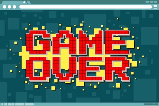 Una ilustración vectorial del juego de computadora pixel sobre la pantalla en la pantalla de visualización