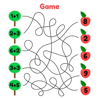 Ilustracion vectorial juego de matemáticas para niños en edad escolar y preescolar. laberinto. resuelve los ejemplos. carretera complicada. árboles y manzanas.