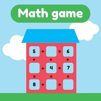 Ilustracion vectorial juego de matemáticas para niños en edad preescolar y escolar. cuente e inserte los números correctos. adición. casa con ventanas.