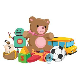 Ilustración vectorial de juguetes para niños