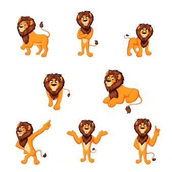 Ilustración vectorial de león de dibujos animados