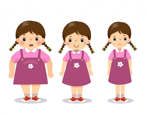 Ilustración vectorial linda chica gorda de dibujos animados, chica promedio y chica flaca. chica con diferente peso.