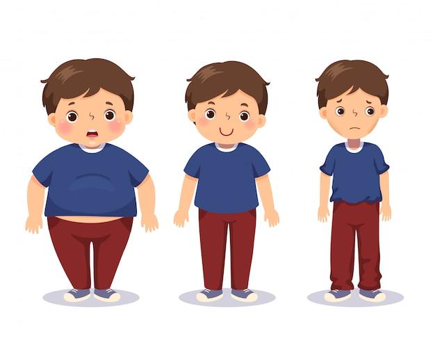 Ilustración vectorial lindo gordo de dibujos animados, chico promedio y chico flaco. chico con diferente peso.