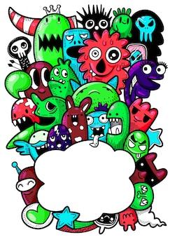 Ilustración vectorial de lindos monstruos