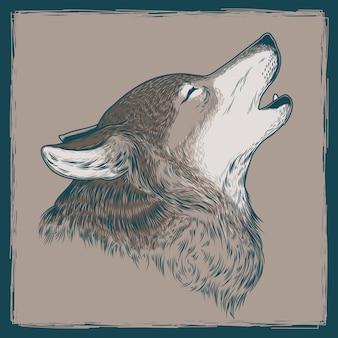 Ilustración vectorial de un lobo aullido