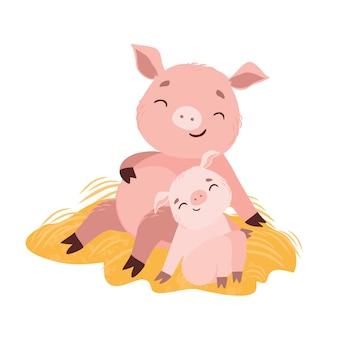 Ilustración vectorial mamá cerdo y lechón bebé.
