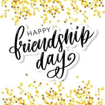 Ilustración vectorial de mano dibujado feliz día de la amistad felicitaciones