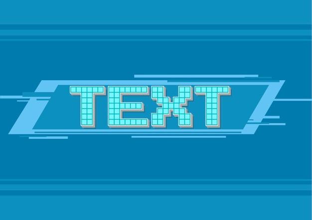 Una ilustración vectorial de marco azul de píxeles vectoriales para ilustración de texto