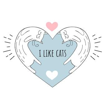 Ilustración vectorial me encantan los gatos. motivos escandinavos.