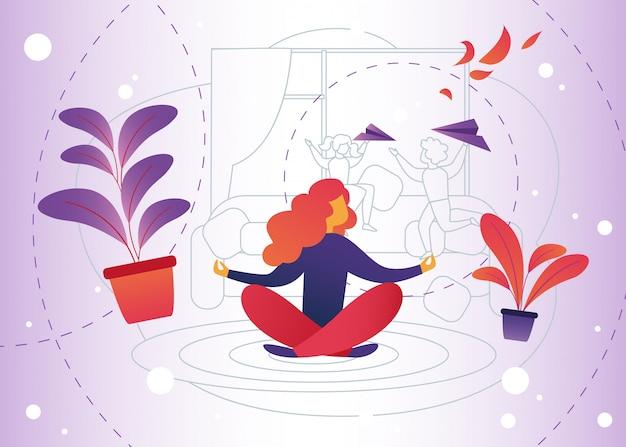 Ilustración vectorial meditación en casa de dibujos animados.