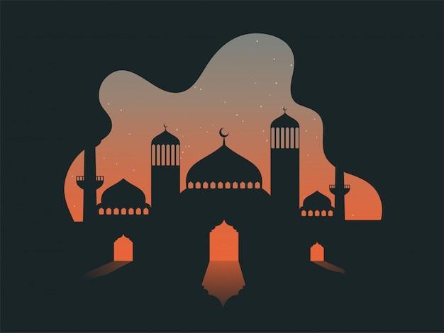 Ilustración vectorial de la mezquita en el fondo de la noche de estrellas abstractas