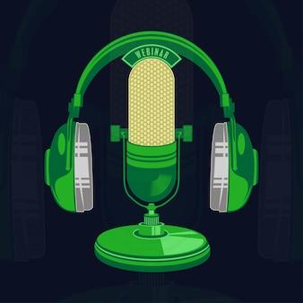 Ilustración vectorial de micrófono retro y vintage aislado
