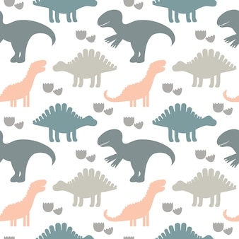 Ilustracion vectorial modelo inconsútil lindo de los niños con las siluetas de dinosaurios. fondo de niños. para textiles, tejidos.