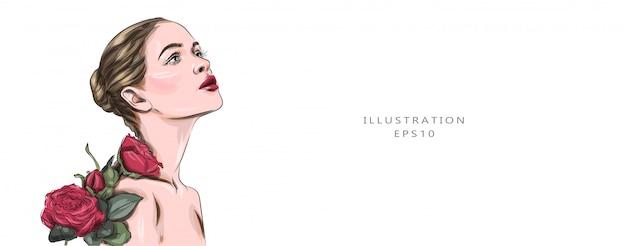 Ilustración vectorial modelo de moda belleza rostro femenino. retrato con rosas rojas. labios rojos. preciosa morena con lujoso maquillaje. aromaterapia