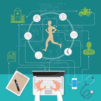 Ilustración vectorial moderna salud creativa.