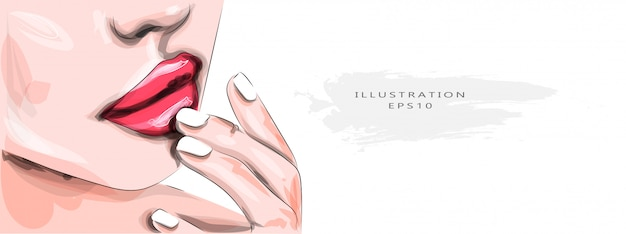 Ilustración vectorial mujer joven con labios sensuales