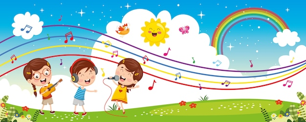 Ilustración vectorial de música para niños