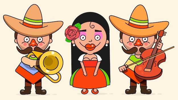 Ilustración vectorial de músicos mexicanos con dos hombres y una mujer con guitarras en ropa nativa y sombrero plano vector
