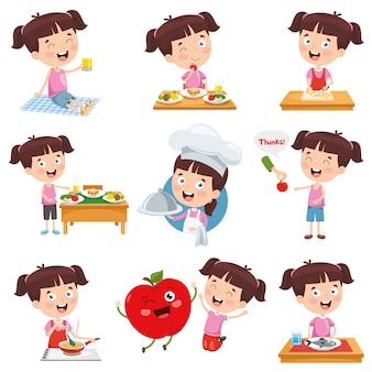 Ilustración vectorial de niña de dibujos animados haciendo diversas actividades