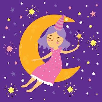 Ilustración vectorial de una niña en el espacio sentado en la luna con una varita mágica, buenas noches