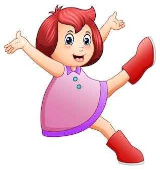 Ilustración vectorial de niña feliz en vestido morado saltando