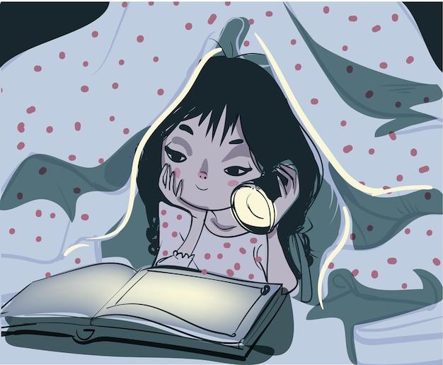 Una ilustración vectorial de una niña leyendo un libro en el dormitorio debajo de una manta con una luz de flash