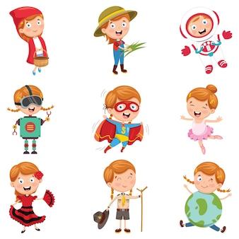 Ilustración vectorial de niña con varios disfraces