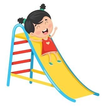 Ilustración vectorial del niño deslizamiento