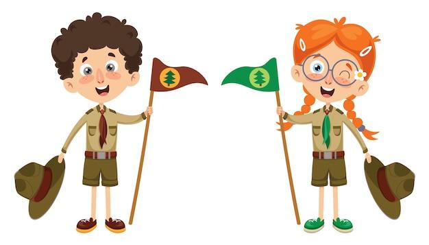 Ilustración vectorial de un niño scout