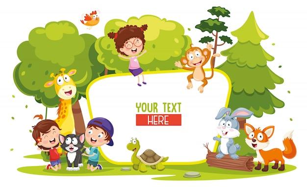 Ilustración vectorial de niños y animales