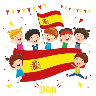 Ilustración vectorial de niños con bandera de españa