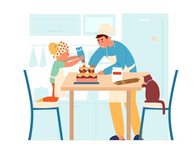 Ilustración vectorial de niños en delantales haciendo pastel juntos en la cocina.