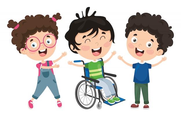 Ilustración vectorial de niños discapacitados