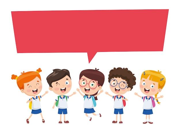 Ilustración vectorial de niños discurso burbuja