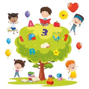 Ilustración vectorial de niños estudiando en un árbol
