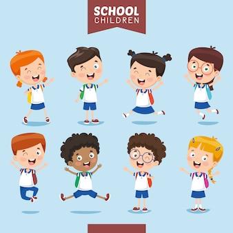 Ilustración vectorial de niños estudiantes