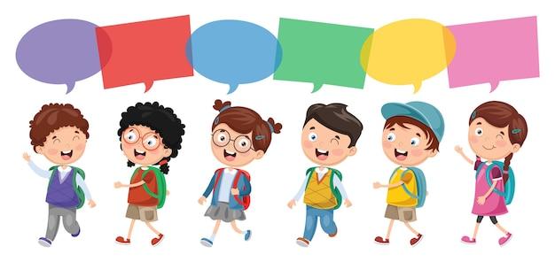 Ilustración vectorial de niños felices