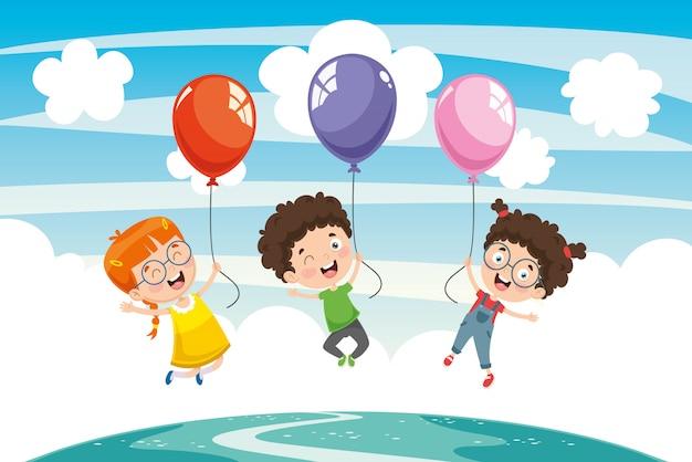 Ilustración vectorial de niños con globo